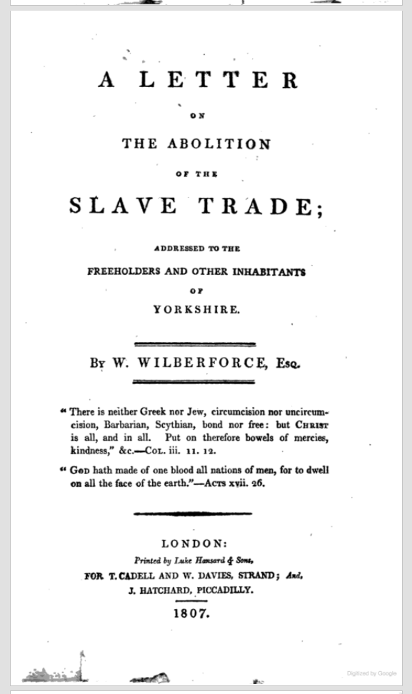 Title page of Wilberforce, A Letter on the Abolition of the Slave Trade