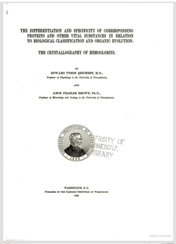 Title page of Reichert & Brown,Differentiation and specificity of corresponding proteins