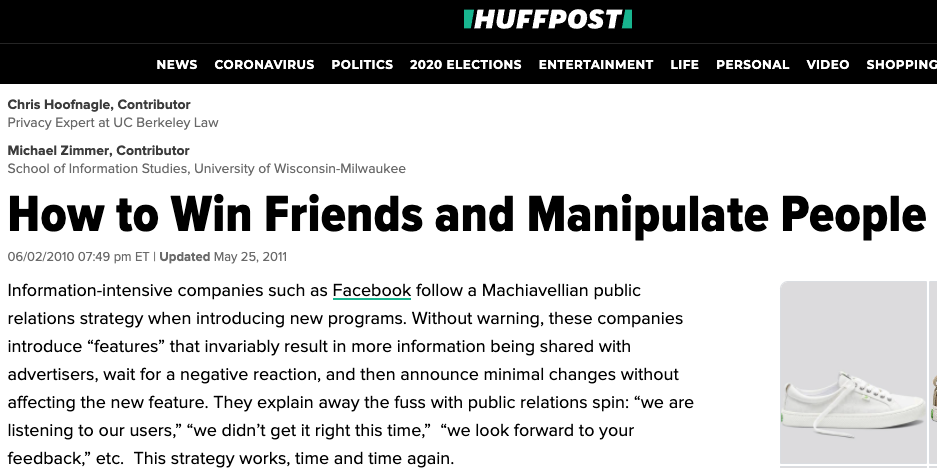 Screenshot of Huffington Post: How to Win Friends and Manifpulate People