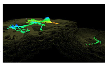 Three-dimensional sonar scan showing remains of the USS Hatteras protruding above the seabed as surveyed in late 2012.