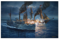 The fatal battle between USS Hatteras and CSS Alabama on January 11, 1863. painting by Tom W. Freeman