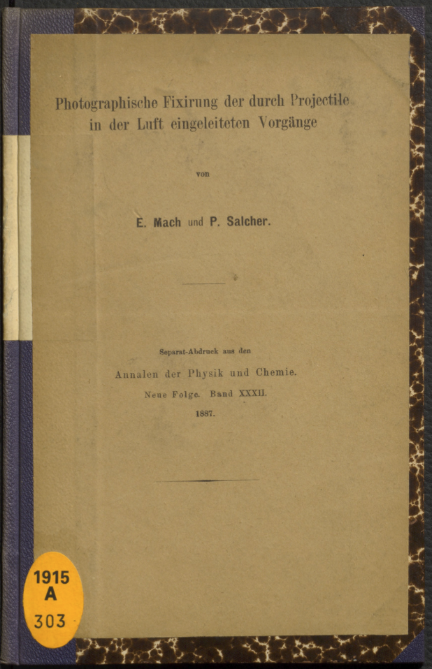Cover of the copy of the separate offprint of Mach & Salcher's paper in the Deutsches Museum
