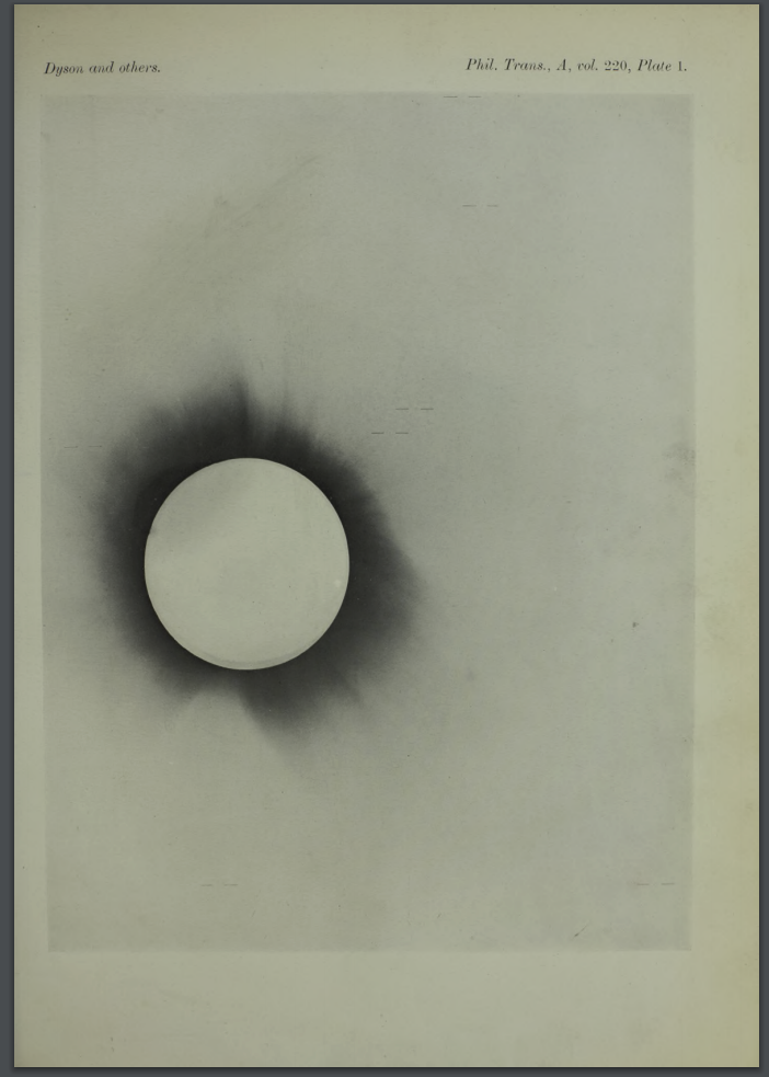 Solar eclipse as reproduced by Dyson and Eddington.