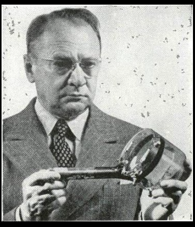 Zworykin holding the iconoscope tube from a 1950 magazine article.