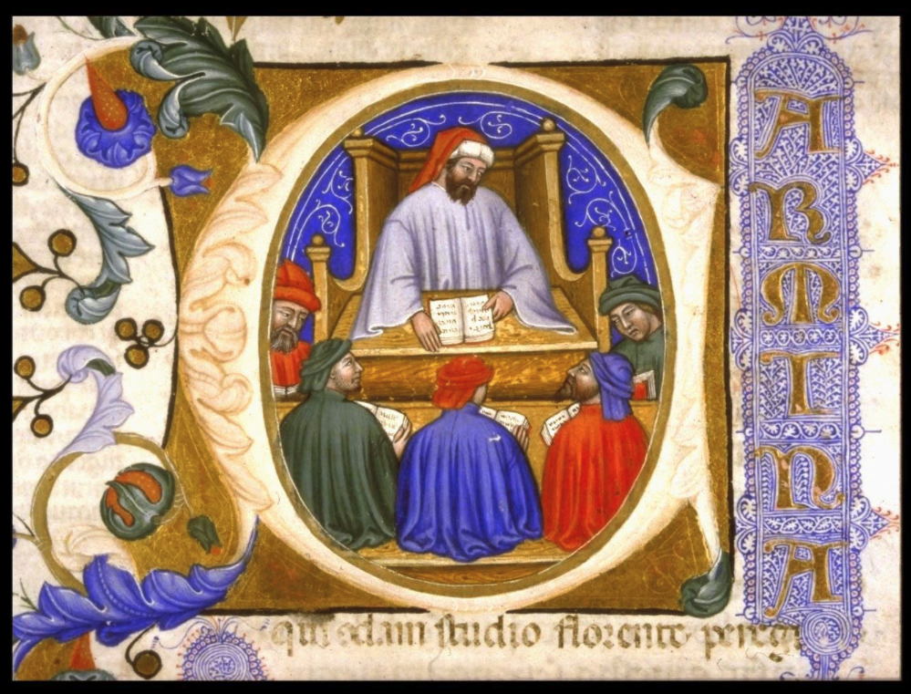 Boethius teaching. An histgoriated initial in an Italian manuscript of Boethius's Consolation of Philosophy, dated 1385. MS Hunter 374 (V.1.11). Glasgow University Library.