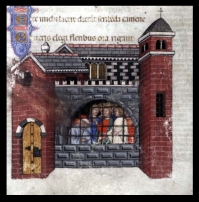 Boethius imprisoned. Miniature painting from On the Consolation of Philosophy. Italy, 1385. MS Hunter 374 (V.1.11
