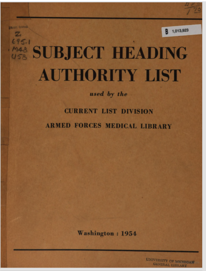 Cover of the Subject Heading Authority List (1954)