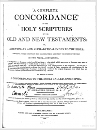 Title page of the first American edition of Cruden's Concordance (1806).
