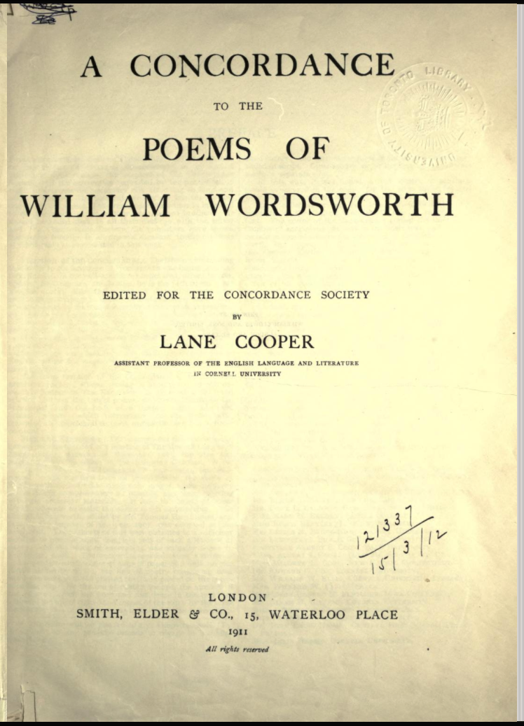 Title page of Lane Cooper's Concordance