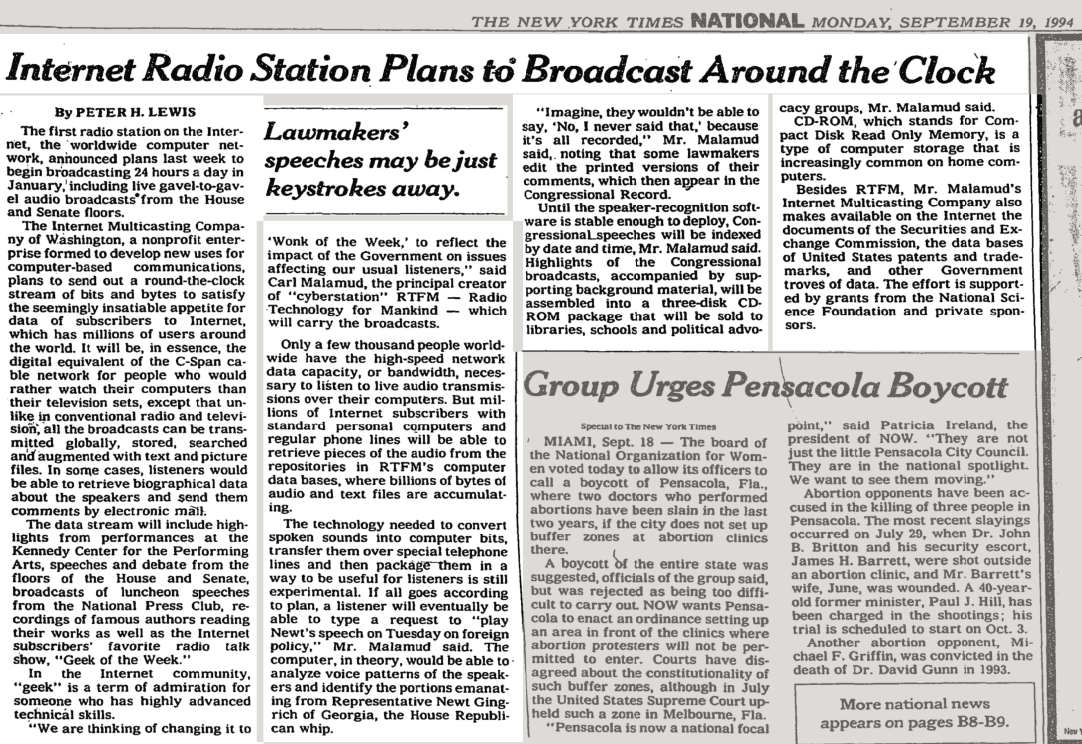 NY Times article on the first national Internet Radio Station
