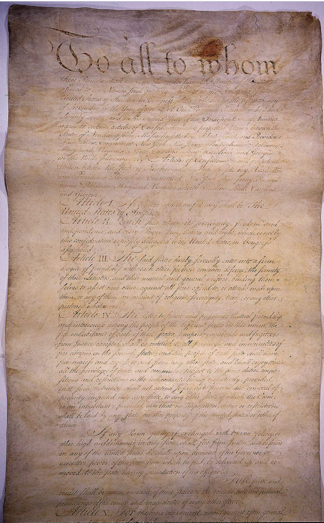 The original manuscript of the Articles of Confederation, ratified in 1781.