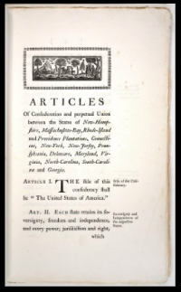 first printed edition of the Articles of Confederation and Perpetual Union