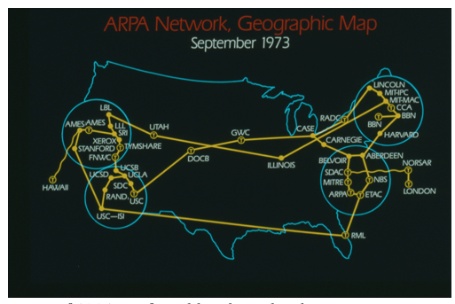 Map of ARPANET as of September 1973