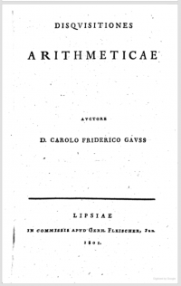 Title page of Gauss, Disquisitiones arithmeticae