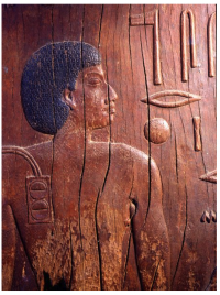 Close-up detail of a wooden panel of Hesy-Ra