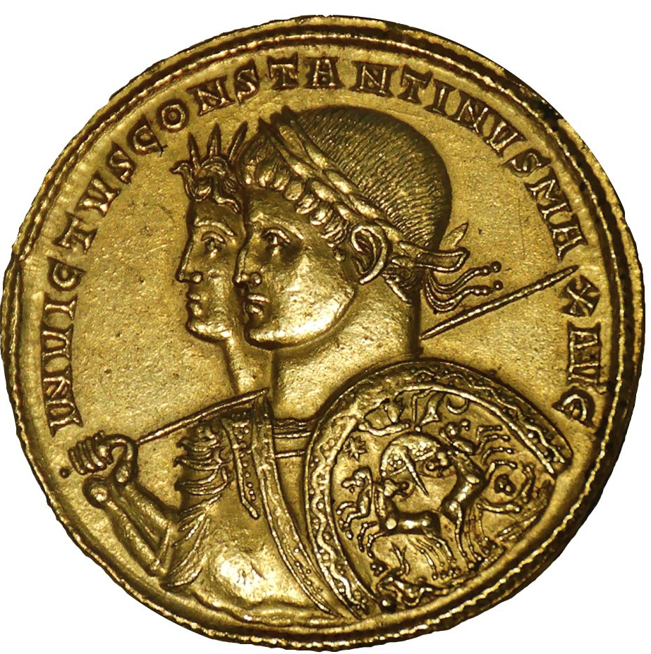 Portrait of Constantine 1 on a gold coin