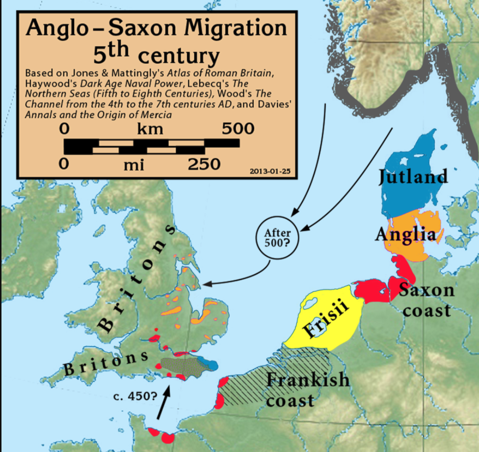 Map of The migrations according to Bede, who wrote some 300 years after the event; there is archeological evidence that the settlers in England came from many of these continental locations