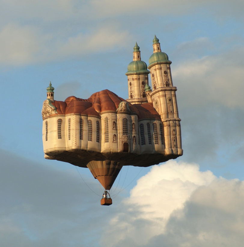 Whimsical hot air balloon in the shape of the Cathedral of St. Gall