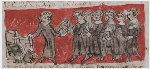 Distribution of books in the Parisian college of Hubant. Source: Pierrefitte-sur-Seine, Archives nationales, AE II 408, f. 10v.