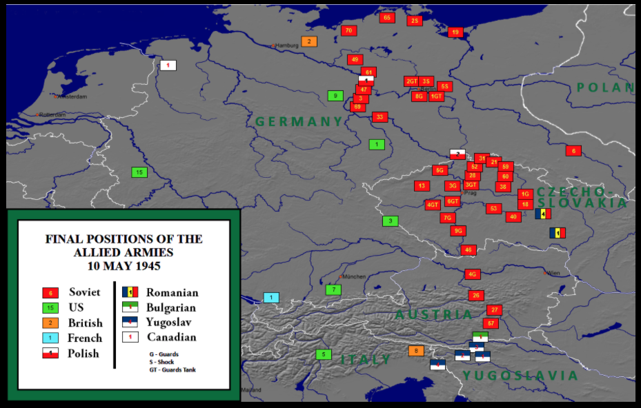 Map of  Final positions of the Allied armies, May 1945.