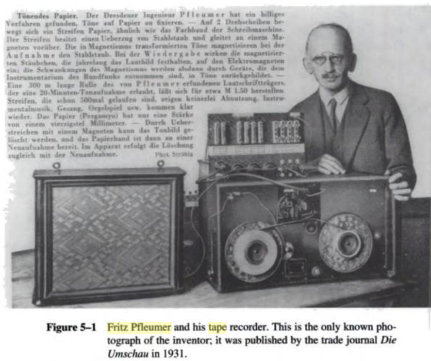 Photograph of Fritz Pfleumer from Daniel, Mee, and Clark, Electrical Recording: The First Hundred Years (1998).