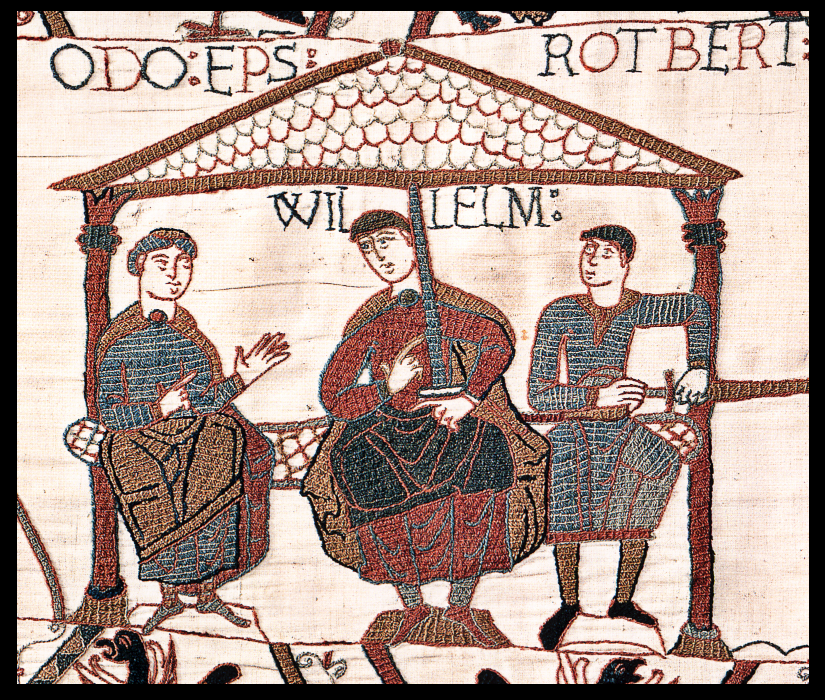 Image from the Bayeux Tapestry showing William with his half-brothers
