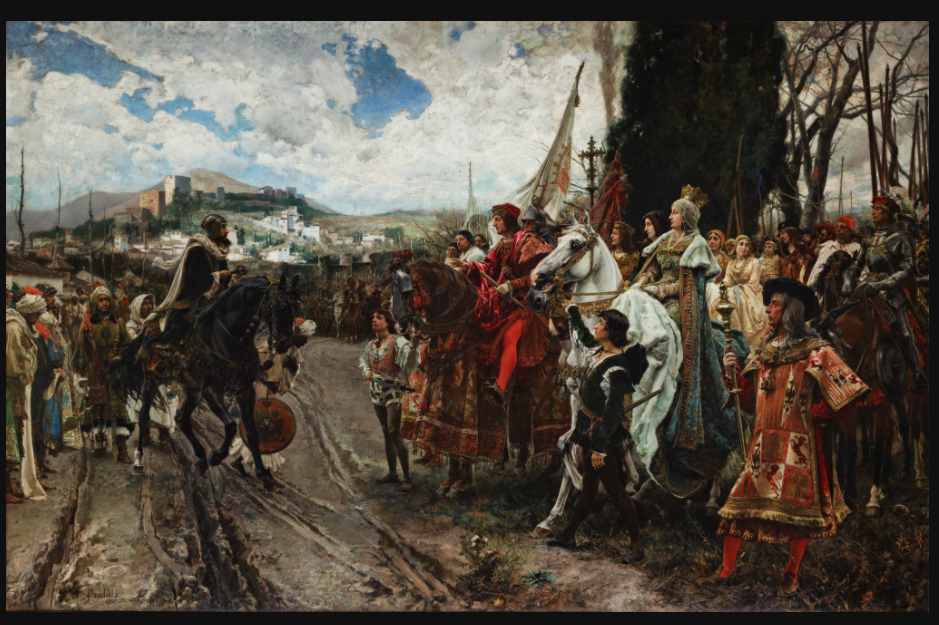 The Capitulation of Granada by Francisco Pradilla Ortiz.  In the painting Muhammad XII (Boabdil) surrenders to Ferdinand and Isabella.