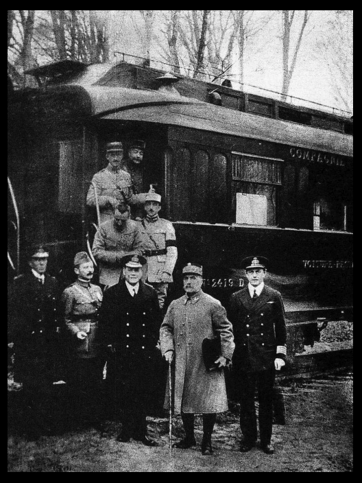 Photograph taken after reaching agreement for the armistice that ended World War I. This is Ferdinand Foch's own railway carriage in the Forest of Compiègne.