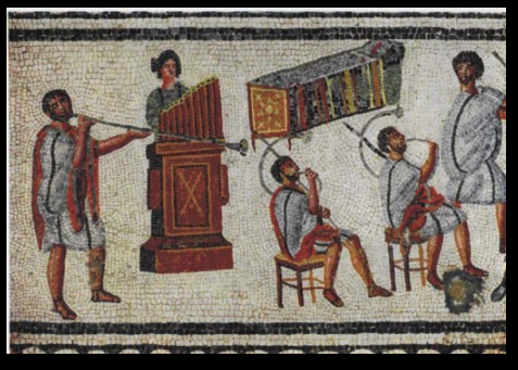 Detail of musicians playing a Roman tuba, a pipe organ (hydraulis), and a pair of cornua, From the  Zliten mosaic, a Roman floor mosaic from about the 2nd century AD, found in the town of Zliten in Libya, on the east coast of Leptis Magna.Archaeological Museum of Tripoli, Tripoli, Libya.