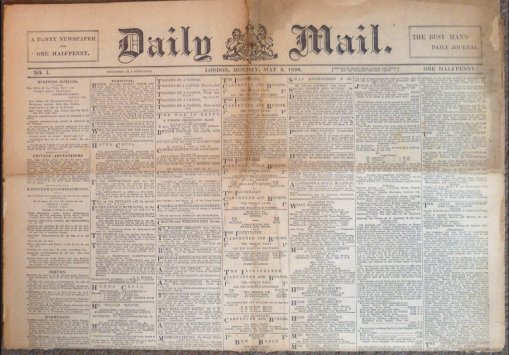 Upper half of the first issue of the Daily Mail, showing the original masthead