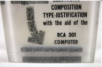 The base of this display held hot type set by monotype.