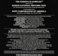 Notes on the rear cover of the Edison CD sampler
