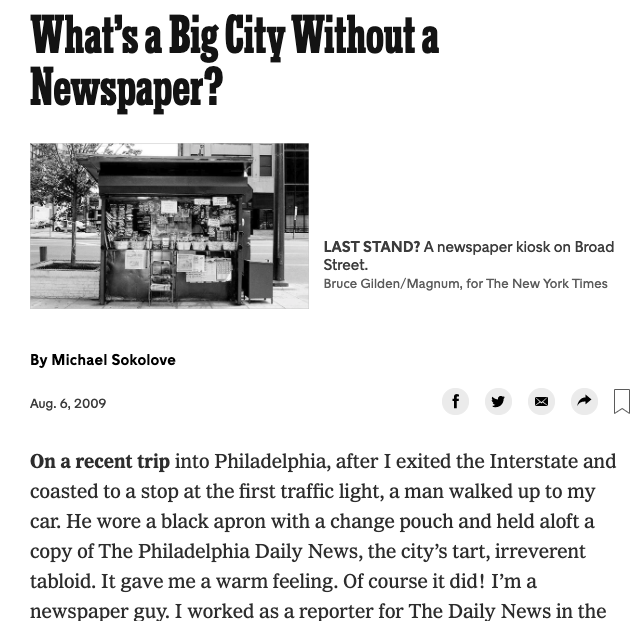 NY Times screenshot, What's a Big City Without a Newspaper?
