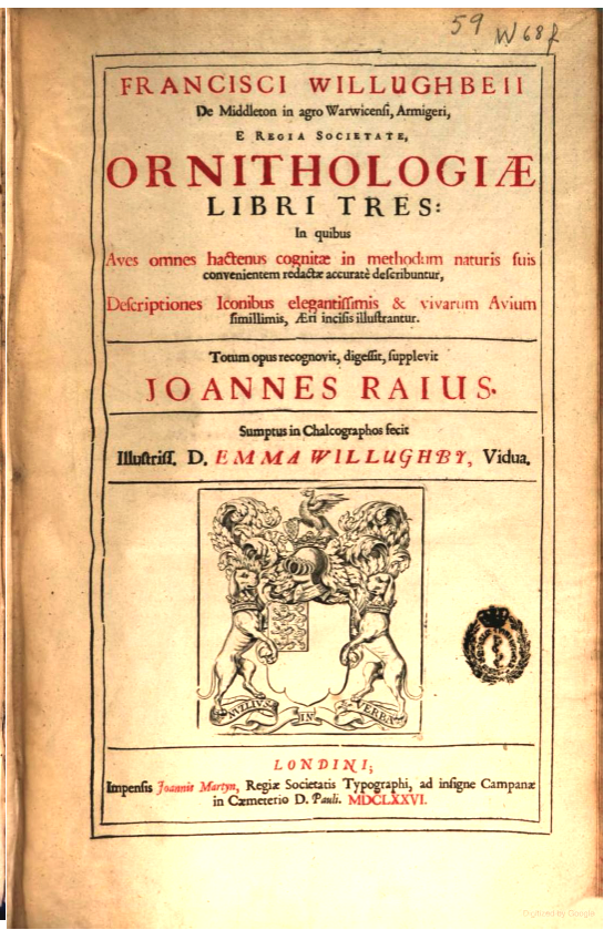 Title page of Willoughby's Ornithologiae