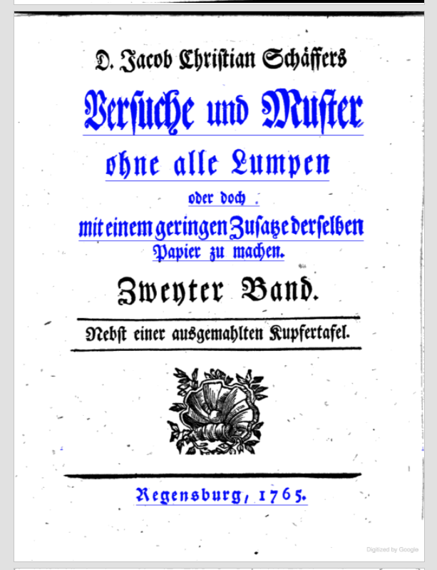 Title page of Schaeffer's work on paper