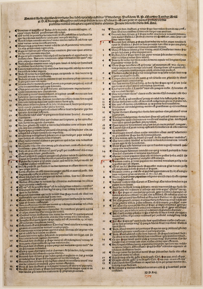 Martin Luther's Disputatio pro declaratione virtutis indulgentiarum of 1517, commonly known as the Ninety-Five Theses