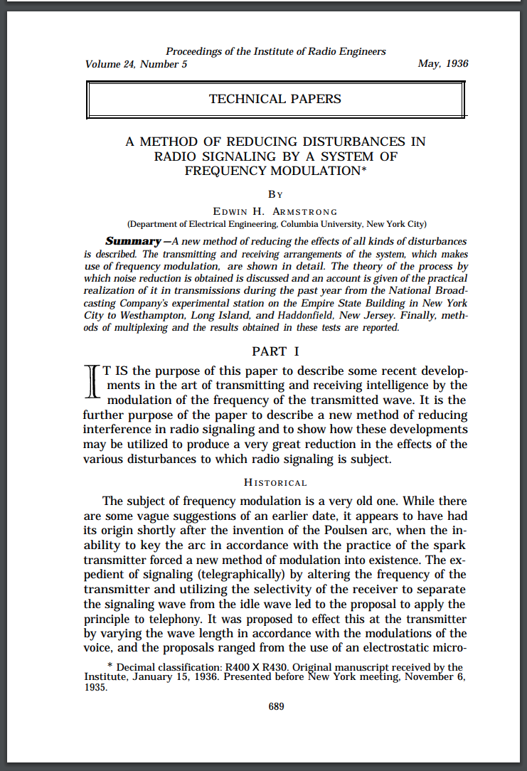First page of Armstrong's paper on frequency modulation