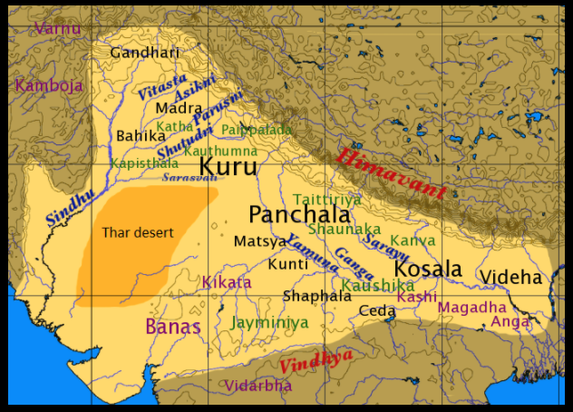 Map of Geographical distribution of the Late Vedic era texts. Each of major regions had their own recension of Rig Veda (Sakhas), and the versions varied.