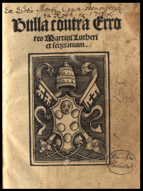 Title page of first printed edition of Exsurge Domine