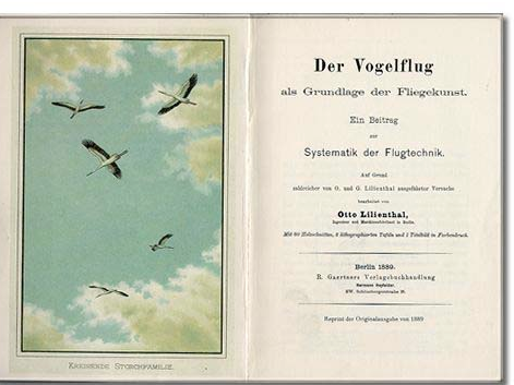 Title page and frontispiece of Lilienthal Der Vogelflug
