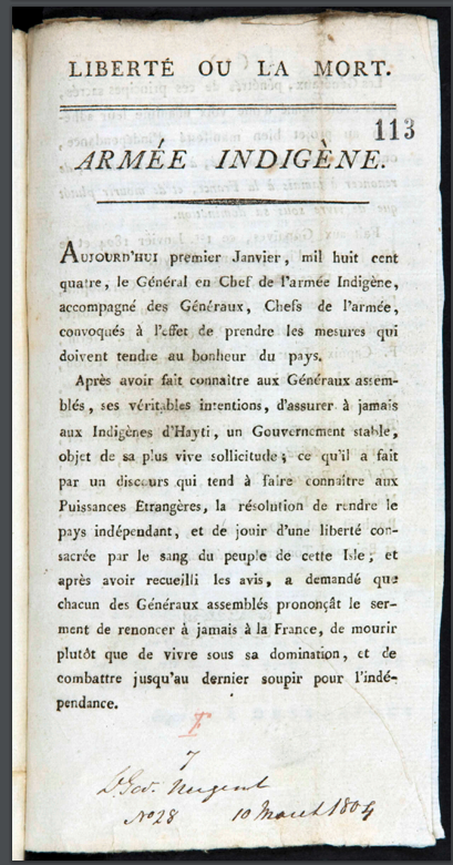 The only known copy of Liberté ou la Mort, the Haitian declaration of independence.