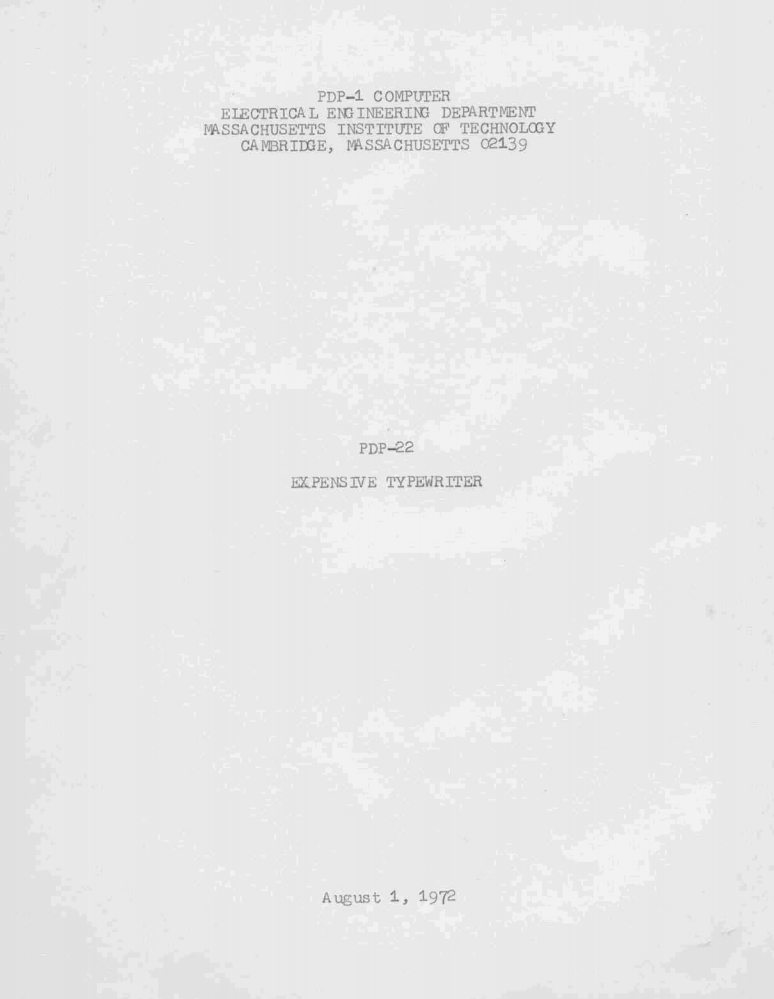 "Title page of Pine's Report on ""Expensive Typewriter"""