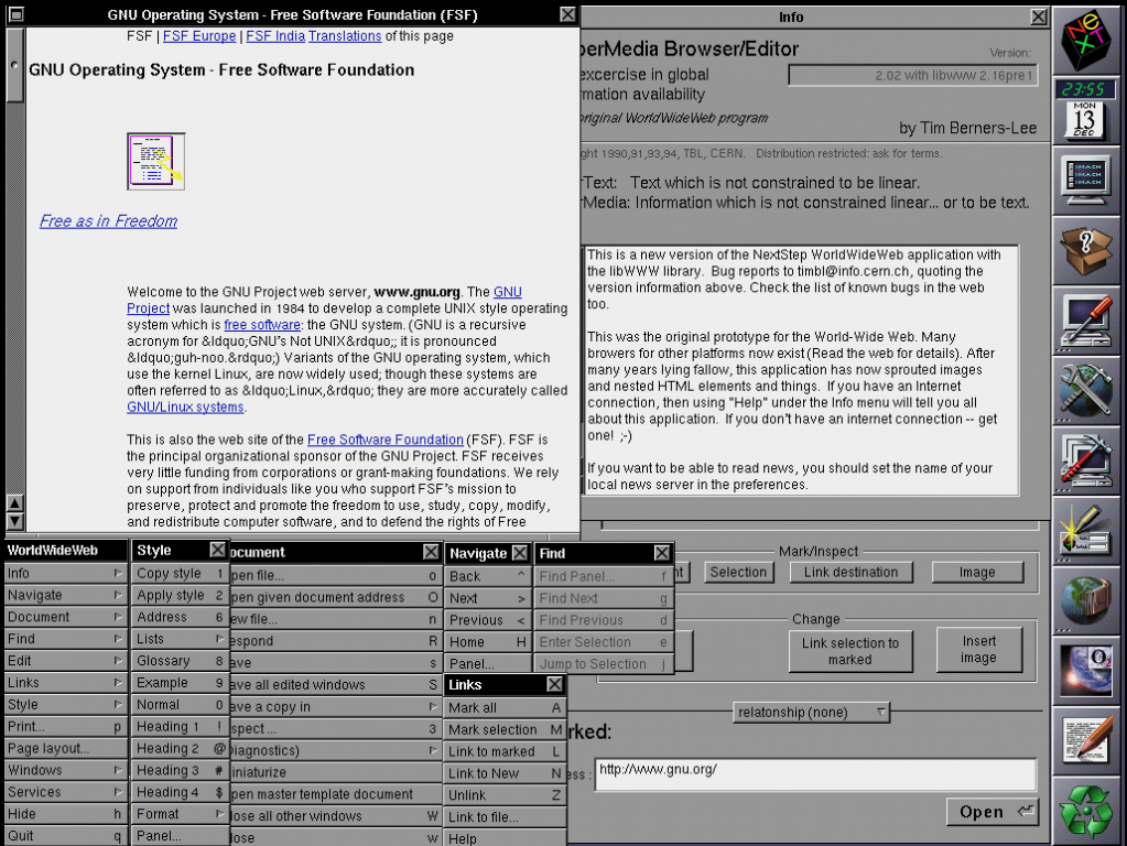 WorldWideWeb, c. 1994 as it appeared on Tim Berners-Lee's NeXT computer