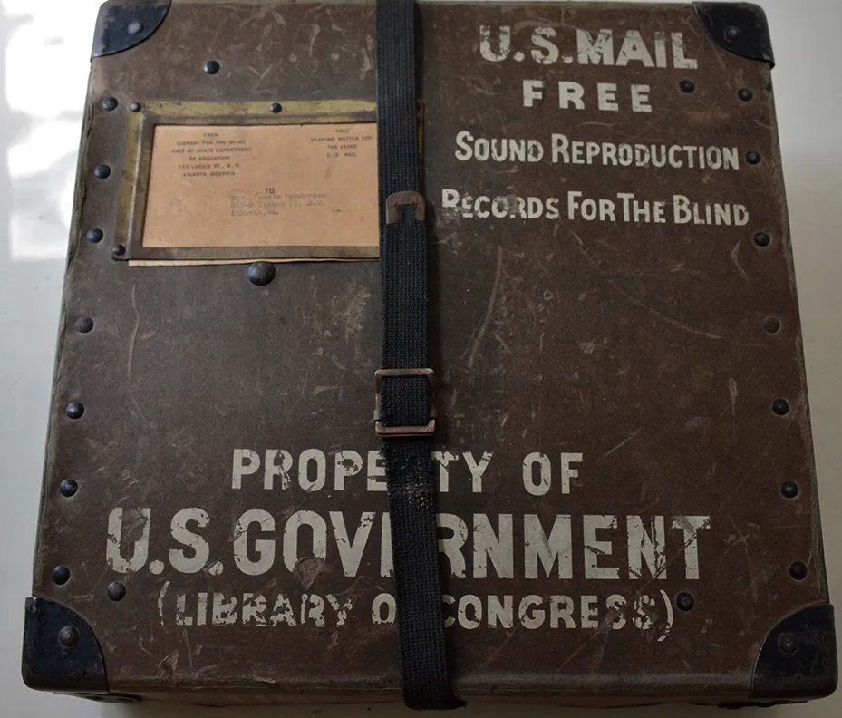 Box containing Sound Reproduction Records for the Blind