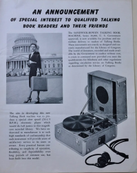 Ad for special phonograph for playing Talking Books recordings