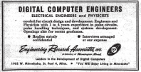 Ad seeking computer engineers from Engineering Research Associates