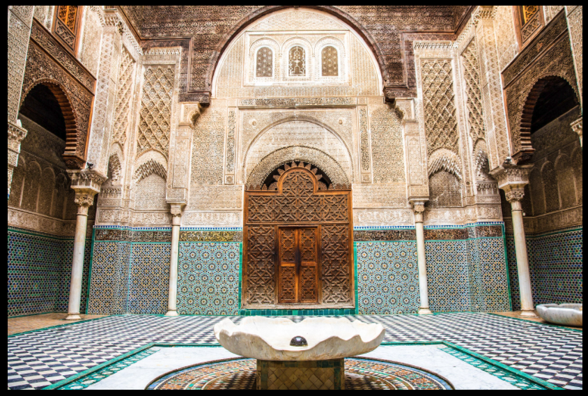 Interior view of Al-Attarine Madrasa built by the Marinid sultan Abu al-Hassan in Fez, Morocco in1323–1325.