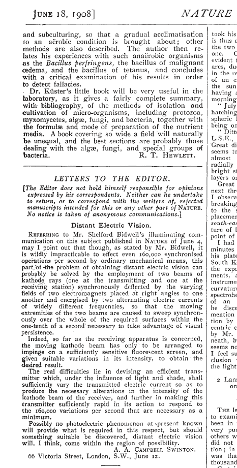 Campbell-Swinton's June 18, 1908 letter as it appeared in the journal Nature.
