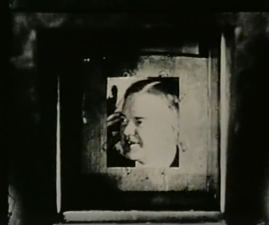 Image of Herbert Hoover in first demonstration of an electromechanical TV broadcast.