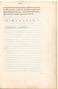 Bracciolini, Pluteo 48.22 c.97r. Signed by Poggio after the Explicit